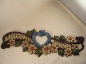 "WELCOME FRIENDS ... With Heart & Flowers  *  15"" Metal Banner"
