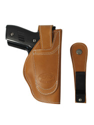 leather ambidextrous holster with belt clip or belt loop option