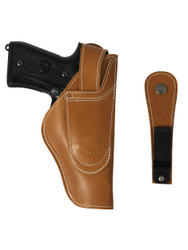 leather ambidextrous belt holster with belt clip or loop options