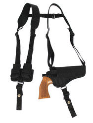 "New Horizontal Cross Harness Shoulder Holster w/ Speed-loader Pouch for 4"" 22 38 357 41 44 Revolvers (#SL53-4HOR)"