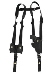 "New Black Leather Vertical Shoulder Holster w/ Speed-loader Pouch for 2"" Snub Nose Revolvers (#SL63/2BLVR)"