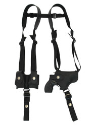 "New Black Leather Horizontal Shoulder Holster w/ Speed-loader Pouch for 2"" Snub Nose Revolvers (#SL63/2BL)"