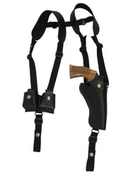 "New Black Leather Vertical Shoulder Holster w/ Speed-loader Pouch for 4"" Revolvers (#SL63/4BL)"