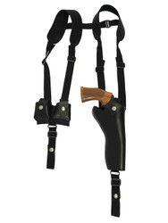 "New Black Leather Vertical Shoulder Holster w/ Speed-loader Pouch for 6"" Revolvers (#SL63/6BL)"