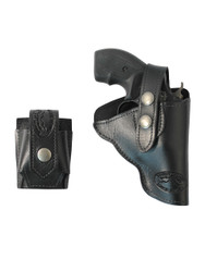 "New Black Leather Outside the Waistband (OWB) Holster + Speed-loader Pouch for Snub Nose 2"" Revolvers (#SL11BL)"