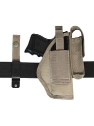 New Barsony Desert Sand 360Carry 8 Option OWB Cross Draw Holster w/ Mag Pouch for Compact 9mm 40 45 (#360C-22-2DS)