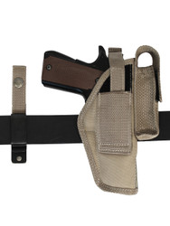 New Barsony Desert Sand 360Carry 8 Option OWB Cross Draw Holster w/ Mag Pouch for Full Size 9mm 40 45 (#360C-32-2DS)