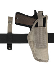 ambidextrous holster with belt clip or loop options