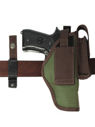 Ambidextrous OWB holster with interchangeable belt clip/loop
