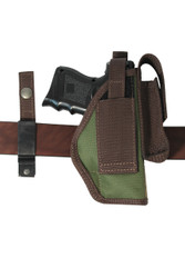 ambidextrous holster with interchangeable belt clip or belt loop