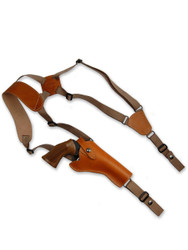 "New Saddle Tan Leather Vertical Cross Harness Gun Shoulder Holster for 4"" Revolvers (63/4ST)"