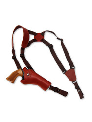 "New Burgundy Leather Vertical Cross Harness Gun Shoulder Holster for 4"" Revolvers (63/4BU)"