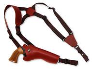 "New Burgundy Leather Vertical Cross Harness Gun Shoulder Holster for 6"" Revolvers (63/6BU)"
