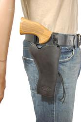 """New Black Leather 49er Style Gun Holster for 4"""" Revolvers (#444BL)"""