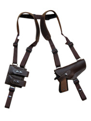 New Barsony Brown Leather Horizontal Shoulder Gun Holster with Double Magazine Pouch for Full Size 9mm .40 .45 Pistols (#3200BR)