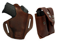 New Brown Leather Pancake Gun Holster + Double Magazine Pouch Combo for Small 380, Ultra Compact 9mm 40 45 Pistols (#C57BR)