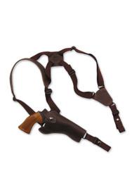 "New Brown Leather Vertical Cross Harness Gun Shoulder Holster for 4"" Revolvers (63/4BR)"