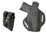 New Black Leather Pancake Gun Holster + Double Magazine Pouch Combo for Compact 9mm 40 45 Pistols (#C59BL)