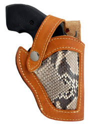"New Saddle Tan Leather Python Snake Skin Inlay Side Gun Holster for 2"" Snub Nose Revolvers (#SN53-2ST)"