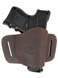 New Brown Leather Belt Quick Slide Gun Holster for Compact Sub-Compact 9mm 40 45 Pistols (#108CBR)