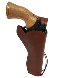 "New Brown Leather 49er Style Outside the Waistband (OWB) Gun Holster for  6"" Revolvers (#446BR)"
