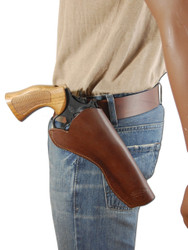 "New Brown Leather Cross Draw Gun Holster for 6"" Revolvers (#CR6BR)"