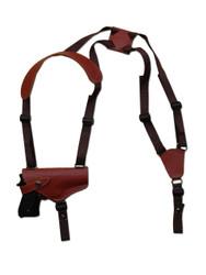 New Burgundy Leather Horizontal Cross Harness Shoulder Gun Holster for Full Size 9mm 40 45 Pistols (32HORBU)