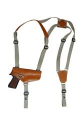 New Saddle Tan Leather Horizontal Cross Harness Shoulder Gun Holster for Full Size 9mm 40 45 Pistols (32HORST)