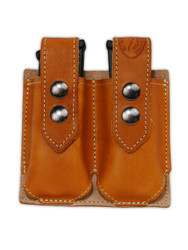 New Saddle Tan Leather Double Magazine Pouch (#STMAG2)