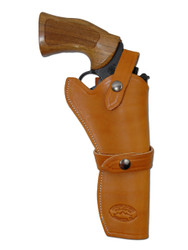 "New Saddle Tan Leather Western Style Gun Holster for 6"" Revolvers (#45-6ST)"