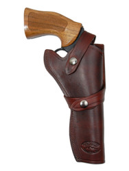 "New Burgundy Leather Western Style Gun Holster for 6"" Revolvers (#45-6BU)"