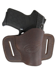 New Brown Leather Belt Quick Slide Gun Holster for Small 380 Ultra Compact 9mm 40 45 Pistols (#108SCBR)