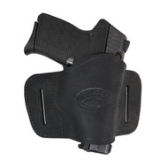 New Black Leather Belt Quick Slide Gun Holster for Small 380 Ultra Compact 9mm 40 45 Pistols (#108SCBL)