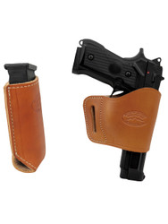 New Saddle Tan Leather Yaqui Gun Holster + Single Magazine Pouch for Full Size 9mm 40 45 Pistols (#C21ST)