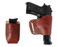 New Burgundy Leather Yaqui Gun Holster + Single Magazine Pouch for Full Size 9mm 40 45 Pistols (#C21BU)