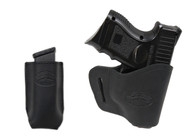 New Black Leather Yaqui Gun Holster + Single Magazine Pouch for Compact Sub-Compact 9mm 40 45 Pistols (#C20BL)