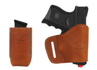 New Saddle Tan Leather Yaqui Gun Holster + Single Magazine Pouch for Compact Sub-Compact 9mm 40 45 Pistols (#C20ST)