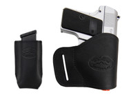 New Black Leather Yaqui Gun Holster + Single Magazine Pouch for Mini/ Pocket 22 25 32 380 Pistols (#C19MBL)