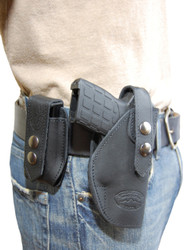 New Black Leather OWB Belt Gun Holster + Single Magazine Pouch for .380, Ultra-Compact 9mm 40 45 Pistols (#C12BL)