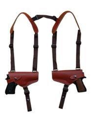 New Burgundy Leather Concealment 2 Gun Shoulder Holster for 9mm 40 45 Pistols (#2XBU)