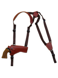 "New Burgundy Leather Horizontal Cross Harness Gun Shoulder Holster for 4"" Revolvers (63/4BUHOR)"