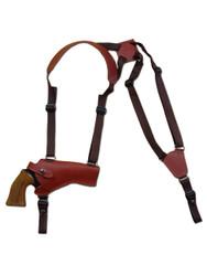 "New Burgundy Leather Horizontal Cross Harness Gun Shoulder Holster for 4"" Revolvers (63/4BUHOR)"
