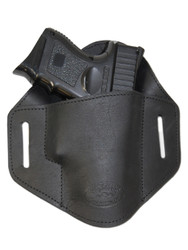 New Black Leather Pancake Belt Slide Gun Holster for Compact Sub Compact 9mm 40 45 Pistols (#222/4BL)