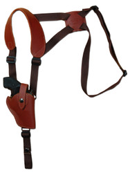 """New Burgundy Leather Vertical Cross Harness Shoulder Gun Holster for 2"""" Snub Nose Revolvers (63/2BUVR)"""