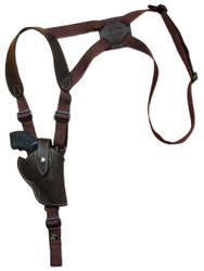"New Brown Leather Vertical Cross Harness Concealment Gun Shoulder Holster for 2-3"" Snub Nose Revolvers (63/2BRVR)"