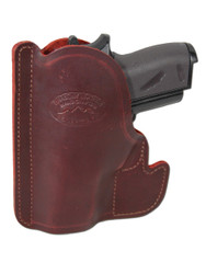 New Burgundy Leather Concealment Pocket Gun Holster for Mini/Pocket .22 .25 .380 .32 Pistols (#PO49BU)