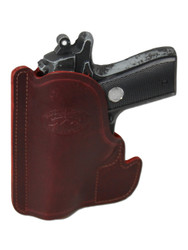 New Burgundy Leather Concealment Pocket Gun Holster for Compact 9mm 40 45 Pistols (PO22BU)
