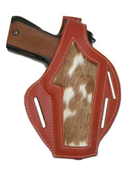 New Hair On Hide Inlay Burgundy Leather Pancake Gun Holster for Full Size 9mm 40 45 Pistols (#H58-5BU)