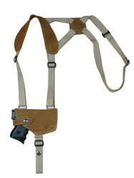 New Olive Drab Leather Horizontal Cross Harness Shoulder Gun Holster for Compact 9mm 40 45 Pistols (22HOROD)