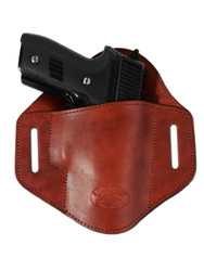New Burgundy Leather Pancake Belt Slide Gun Holster for Full Size 9mm 40 45 Pistols (#222/5BU)